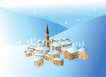 Vila pequena do inverno Imagem de Stock