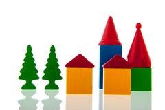 Vila pequena em blocos de madeira Fotografia de Stock