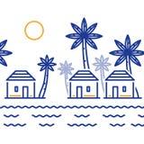 Vila pequena entre palmeiras, três bungalows pelo rio ou lago ilustração stock