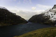 Vila pitoresca de Saksun de Streymoy Ilhas Faroé, Dinamarca, Imagens de Stock Royalty Free