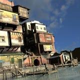 Vila portuária asiática velha Imagem de Stock