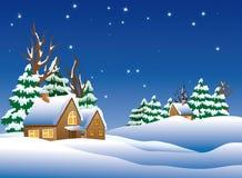 Vila Snow-covered. ilustração stock