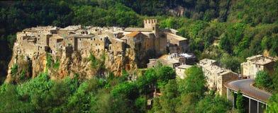Vila superior Calcata do monte, Itália Foto de Stock