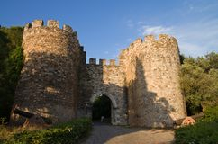 Vila Vicosa castle gateway and canons. Vila Vicosa castle gateway, round lookout towers, canons and part of the outer walls under a blue bright sky and partially Royalty Free Stock Photography
