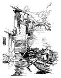 Vila Zhouzhuang da água de Shanghai em China Imagens de Stock