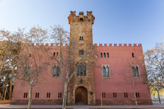 Viladecans,Catalonia,Spain. Architecture, ancient building, tower, Torre Roja, gothic style, Viladecans, province Barcelona, Catalonia stock photo