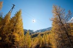 Vilage d'honoraires de Saas - levage de cabine au-dessus de forêt d'automne Images stock