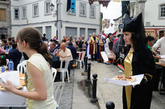 Vilalba - Spain. Vilalba , SPAIN- 9 JULY , 2011 -  Traditional Lunch  Medieval Festival  VILALBA.  Province of  Lugo.  Galiza . SPAIN Royalty Free Stock Images