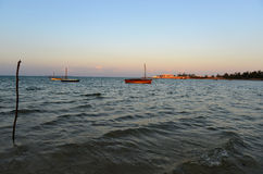 Vilanculos Beach, Mozambique. Panoramic View of Vilanculos Beach in Mozambique during high tide at sunset Royalty Free Stock Photo