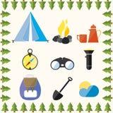 Vilar det lösa lägret för trädet utrustningsemesterberget royaltyfri illustrationer