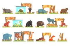 Vilda djur bak skjulet i zoouppsättning stock illustrationer