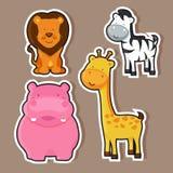 Vilda djur klistermärke eller etikettdesign Royaltyfri Foto