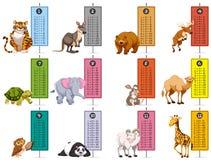 Vilda djur och schemamall vektor illustrationer