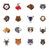 Vilda djur som den head logoen förser med märke etiketter, planlägger för emblemmallar för framsidan den kvalitets- vektorn för s Royaltyfri Bild