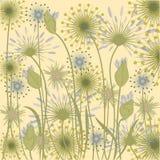 Vildblommabakgrundsgräns - idérik vektor för blå beige konst Royaltyfria Bilder