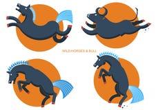 Vildhästar och tjur Rodeosymboler Royaltyfri Fotografi