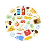 Vildmarköverlevnadsats, loppnödvändigheter i runda Shape, första hjälpensats, översikt, på burk mat, telefon, rep, kompass royaltyfri illustrationer