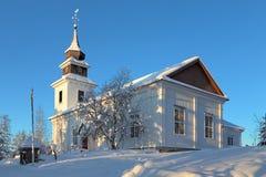 Vilhelmina教会在冬天,瑞典 库存照片