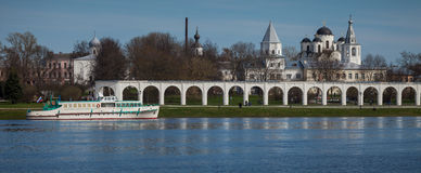 Vilikiy Novgorod, Volkhov rzeka, Rosja Zdjęcie Stock
