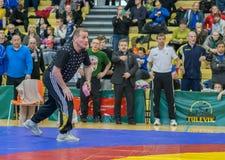 Viljandi, ESTONIA - FEBRUARY 20, 2016: Unidentified coach during Estonian freestyle wrestling tournament. royalty free stock photography