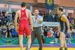 Viljandi, ESTONIA - FEBRUARY 20, 2016: Unidentified referee during Estonian freestyle wrestling tournament. stock image
