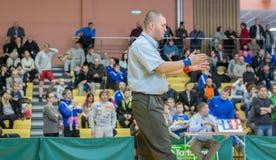Viljandi, ESTONIA - FEBRUARY 20, 2016: Unidentified referee during Estonian freestyle wrestling tournament. stock images