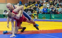 Viljandi, ESTONIA - FEBRUARY 20, 2016: Unidentified wrestlers during Estonian freestyle wrestling tournament. stock photography