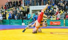 Viljandi, ESTONIA - FEBRUARY 20, 2016: Unidentified wrestlers during Estonian freestyle wrestling tournament. royalty free stock photography