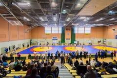 Viljandi, ESTONIA - FEBRUARY 20, 2016: Unidentified wrestlers during Estonian freestyle wrestling tournament. Royalty Free Stock Images