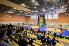 Viljandi, ESTONIA - FEBRUARY 20, 2016: Unidentified wrestlers during Estonian freestyle wrestling tournament. stock images