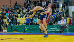 Viljandi, ESTONIA - FEBRUARY 20, 2016: Unidentified wrestlers during Estonian freestyle wrestling tournament. Freestyle wrestling tournament. Wrestlers on mat Royalty Free Stock Photos