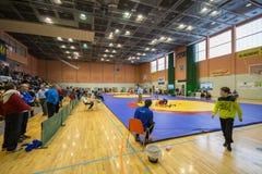 Viljandi, ESTONIA - FEBRUARY 20, 2016: Unidentified wrestlers during Estonian freestyle wrestling tournament. stock photo