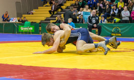 Viljandi, ESTONIA - FEBRUARY 20, 2016: Unidentified wrestlers during Estonian freestyle wrestling tournament. Freestyle wrestling tournament. Wrestlers on mat Royalty Free Stock Photography