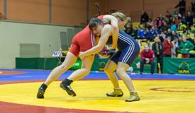 Viljandi, ESTONIA - FEBRUARY 20, 2016: Unidentified wrestlers during Estonian freestyle wrestling tournament. Freestyle wrestling tournament. Wrestlers on mat Royalty Free Stock Photo