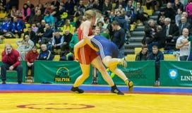 Viljandi, ESTONIA - FEBRUARY 20, 2016: Unidentified wrestlers during Estonian freestyle wrestling tournament. Royalty Free Stock Image