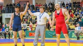 Viljandi, ESTONIA - FEBRUARY 20, 2016: Unidentified wrestlers during Estonian freestyle wrestling tournament. stock image