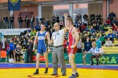 Viljandi, ESTONIA - FEBRUARY 20, 2016: Unidentified wrestlers during Estonian freestyle wrestling tournament. royalty free stock photo