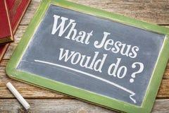 Vilken Jesus skulle göra fråga på svart tavla royaltyfri fotografi