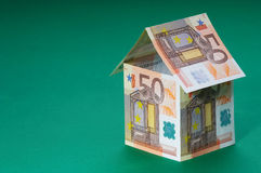 Villa. House made out of  50 Euro bills Royalty Free Stock Photography