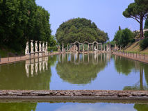 Villa Adriana- ruins of an imperial Adrian country house in Tivoli near Rome,. Landscape in a sunny day Royalty Free Stock Photography