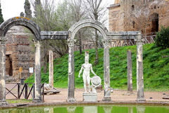 Villa Adriana - Tivoli. The greek sculptures surrounding the ancient pool called Canopus Stock Images