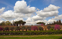 Villa Adriana, Tivoli, Lazio, Italy. Clouds over villa Adriana,  Tivoli, Lazio, Italy Royalty Free Stock Photo