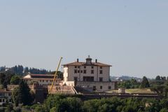 Villa Agape Arrighetti in a sunny day. Florence, Tuscany, Italy. Italy, Florence - May 18 2017: the view of the Villa Agape Arrighetti in a sunny day on May 18 Royalty Free Stock Photos