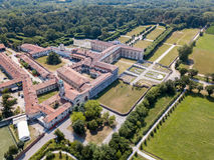 Villa Arconati, Castellazzo, Bollate, Milan, Italy. Aerial view. Villa Arconati, Castellazzo, Bollate, Milan, Italy. Villa Arconati, Castellazzo, Bollate, Milan royalty free stock photography