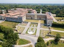 Villa Arconati, Castellazzo, Bollate, Milan, Italy. Aerial view. Villa Arconati, Castellazzo, Bollate, Milan, Italy. Villa Arconati, Castellazzo, Bollate, Milan royalty free stock photo