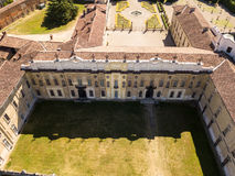 Villa Arconati, Castellazzo, Bollate, Milan, Italy. Aerial view of Villa Arconati. 17/06/2017. Gardens and park, Groane Park. Palace, baroque style palace stock images