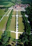 Villa Arconati, Castellazzo, Bollate, Milan, Italy. Aerial view of Villa Arconati. 21/06/2017. Gardens and park, Groane Park. Palace, baroque style palace stock image