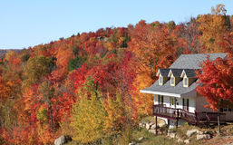 Villa in autumn, Mont Tremblant, Quebec Stock Images
