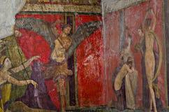 Villa av gåtafreskomålningen, Dionysiac fris, Pompeii stock illustrationer