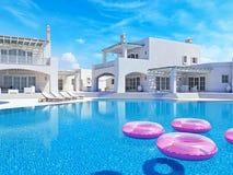 Villa avec la piscine Concept d'été rendu 3d Images libres de droits